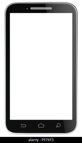 Non branded classic Black Smartphone. Vector EPS 10. - Stock Photo