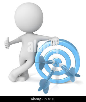 Dude 3D character giving thumbs up holding blue dartboard with blue darts. - Stock Photo