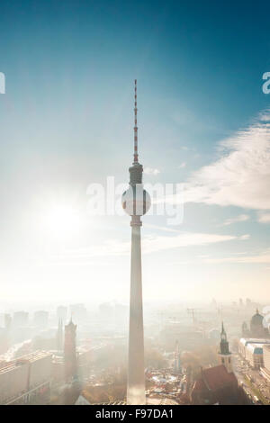 Low Angle View Of Fernsehturm Against Sky - Stock Photo