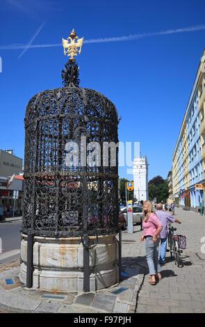 Fountain Piekna Studnia (Schoener Brunnen)  near market square (Rynek), Nysa (Neisse), Silesia, Poland, Europe - Stock Photo