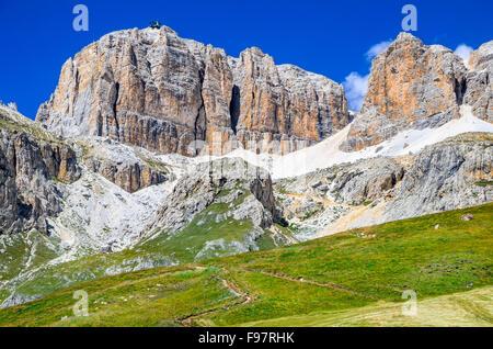 Piz Pordoi, Val di Fassa, Sella Dolomites in Italy. Sass Pordoi south face (2952 m) in Gruppo del Sella, Dolomites - Stock Photo