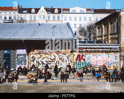 People Sitting On Steps In Görlitzer Park, Berlin - Stock Photo