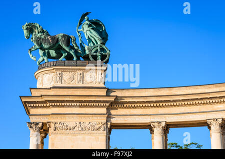 Heroes' Square is one of the major attraction of Budapest, Hungary, rich with historic and political connotations. - Stock Photo