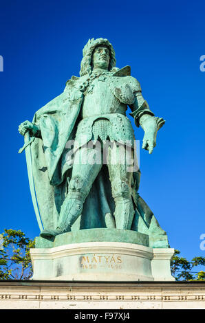 Budapest, Hungary. The Millennium Monument in Heroes' Square with detail of Matyas King of Hungary. - Stock Photo