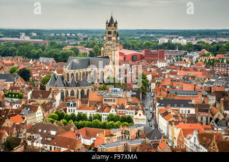 Bruges, Belgium. Top view of the Saint Salvator Cathedral in Brugge city of Flanders, belgian culture heritage. - Stock Photo