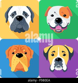 Set dog head icon flat design - Stock Photo