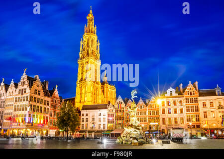 Antwerpen, Belgium. Night scene in downtown Antwerp, Belgium along the famous Meir Street and the lonely tower of - Stock Photo