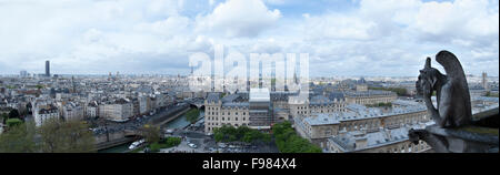 Panoramic photograph taken from Notre Dame Cathedral in Paris, France. - Stock Photo