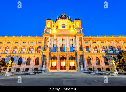 Vienna, Austria. Beautiful view of famous Naturhistorisches Museum (Natural History Museum) with park Maria-Theresien - Stock Photo