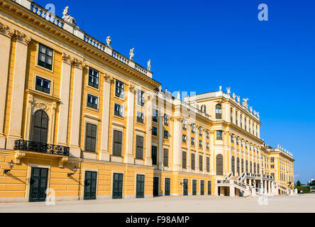 Austria. Schonbrunn Palace in Vienna. It's a former imperial 1,441-room Rococo summer residence in modern Wien. - Stock Photo