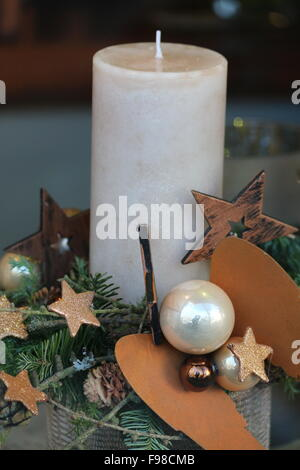 Christmas candle with decoration - Stock Photo