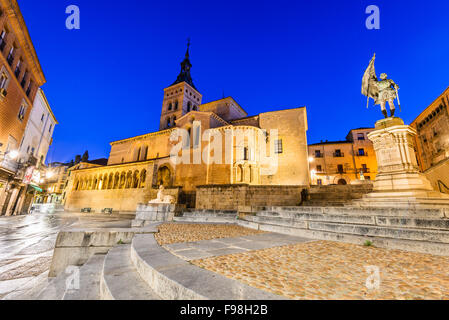 Segovia, Spain. Plaza de Medina del Campo with San Martin Church, twilight of Castile, Castillia. - Stock Photo
