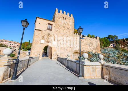 Toledo, Spain. Puente de San Martin is a medieval bridge across the river Tajo in Toledo, Spain. - Stock Photo