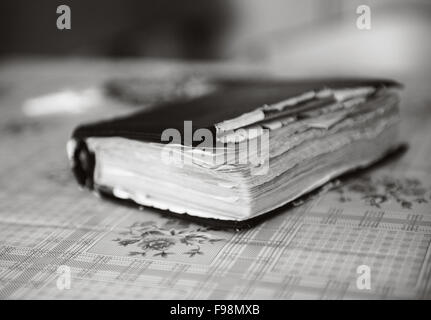 Leather Covered Old Bible Lying On Table