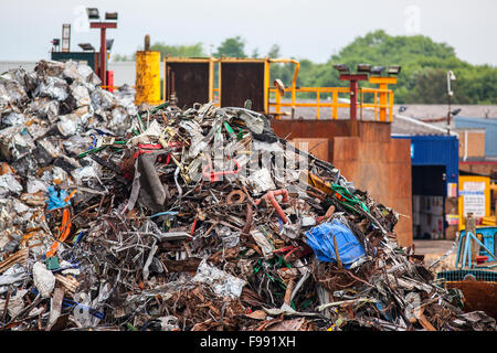 Pile of scrap metal  in junk yard - Stock Photo