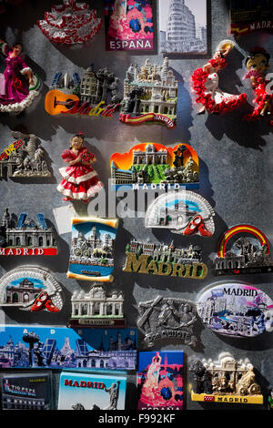 Souvenir Fridge Magnets on sale in Madrid - Stock Photo