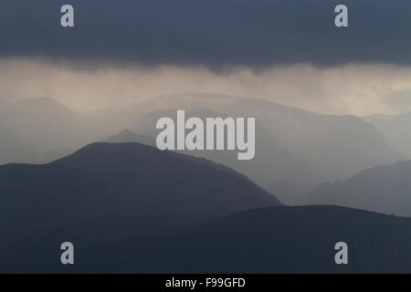 Thunderstorm and torrential rain in mountains. From the Plateau de Beille, Ariege Pyrenees, France. June. Stock Photo