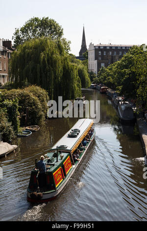 Little Venice Canal and Boats in London - Stock Photo