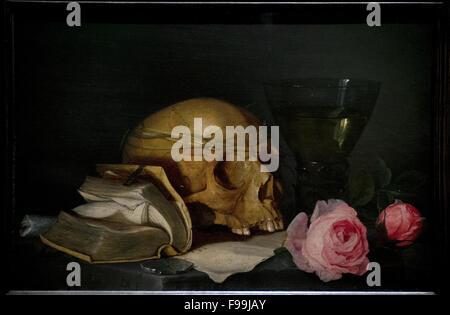 Jan Davidsz. de Heem (1606-1683/1684). Flemish painter. A Vanitas Still Life with a Skull, a Book and Roses, c. - Stock Photo
