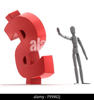 Stopping Shiny Red Dollar Sign - Stock Photo