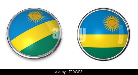 Banner Button Rwanda/Ruanda - Stock Photo