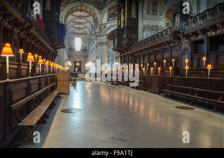 The quire at St Paul's cathedral, London, as seen from the east end of the cathedral. - Stock Photo
