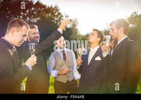 Groom with four happy groomsmen toasting at the wedding reception outside - Stock Photo