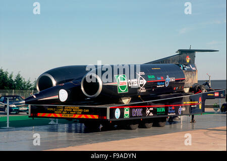 ThrustSSC, Thrust SSC, or Thrust supersonic car is the current holder of the world land speed record. - Stock Photo