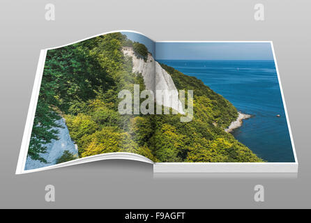118 meter high chalk cliffs Koenigsstuhl, Jasmund National Park, Ruegen Island, Mecklenburg-Western Pomerania, Germany, - Stock Photo