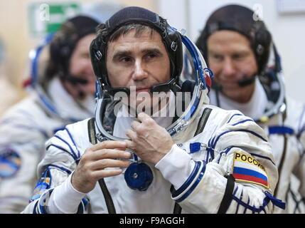 Baikonur, Kazakhstan. 15th Dec, 2015. ISS Expedition 46/47 crew member, Roscosmos cosmonaut Yuri Malenchenko before - Stock Photo
