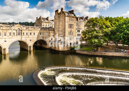 the Pulteney Bridge River Avon - Stock Photo