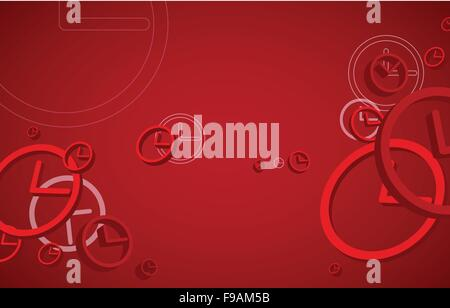 Clocks on red background - Stock Photo