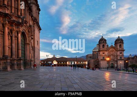 Iglesia La Compania de Jesus, Cathedral on the left, Plaza de Armas, Cusco Province, Cusco Province, Peru - Stock Photo