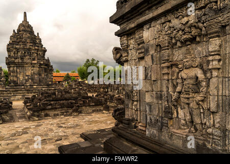 buddhist Candi Sewu temple,  part of the 9th-century Hindu temple compound Candi Prambanan in Central Java, Indonesia, - Stock Photo