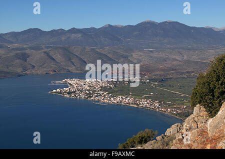 Panoramic view of Itea town, the seaport to the ancient Delphi and town situated in Fokida region, Central Greece - Stock Photo