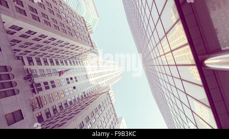 Retro stylized photo of skyscrapers in Manhattan, New York City, USA. - Stock Photo