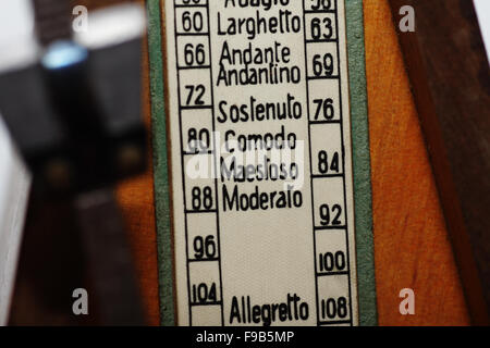 scale of the old wooden metronome in close-up - Stock Photo