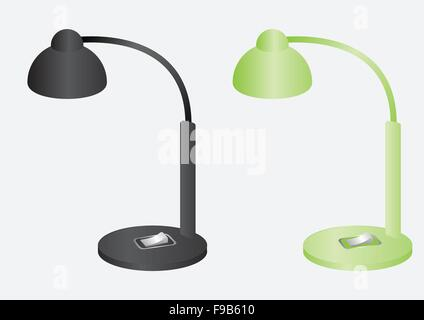 Reading lamps black and green color vector design - Stock Photo
