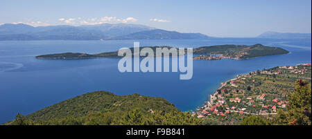 Panoramic view of Trizonia village and island situated in the Corinthian Gulf in Fokida region, Central Greece - Stock Photo