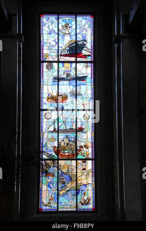Stained glass window at the historic Grey Institute building in Port Elizabeth which is now an office. - Stock Photo