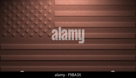 US flag on rusty metal, computer illustration. - Stock Photo