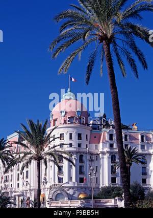 Promenade des Anglais and the Hotel Negresco, Nice, Cote d'Azur, French Riviera, France - Stock Photo