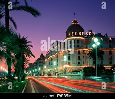 Promenade des Anglais and the Negresco Hotel, Nice, Cote d'Azur, France - Stock Photo