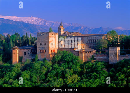 Alhambra Palace and the Sierra Nevada Mountains, Granada, Andalusia, Spain. - Stock Photo