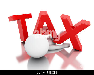 3d renderer illustration. White people and tax word. Isolated white background - Stock Photo