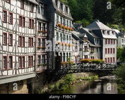 Old half-timbered houses above the river Rur in the town of Monschau / Eifel region / Germany. - Stock Photo