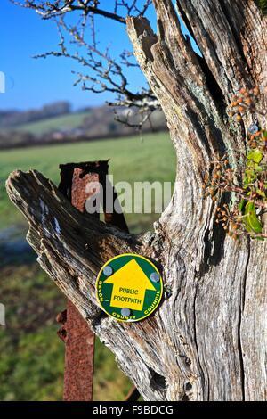 Public footpath sign, near Kennerleigh, Devon, England, UK - Stock Photo
