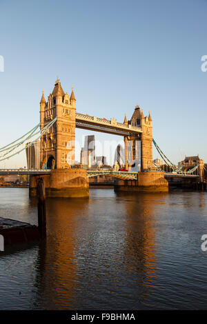 Tower Bridge and the City of London skyline early morning - Stock Photo