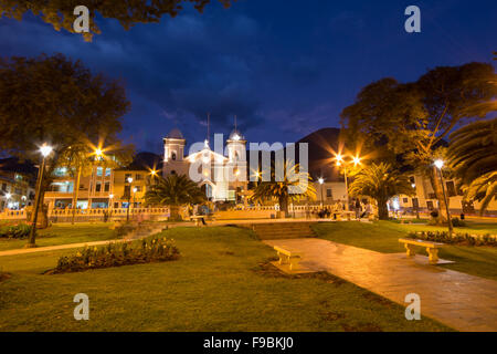 Evening view of main square of town of Cajabamba in the Cajamarca region of northern Peru - Stock Photo