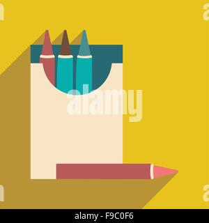Flat with shadow icon and mobile application crayons - Stock Photo